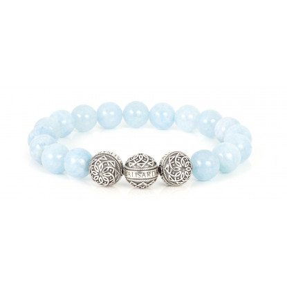 Aquamarine Beaded Bracelet | Triple Sterling Silver Beads | Light Blue Gemstones