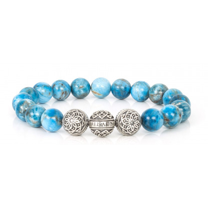 Apatite Beaded Bracelet | Triple Sterling Silver Beads | Turquoise Gemstones