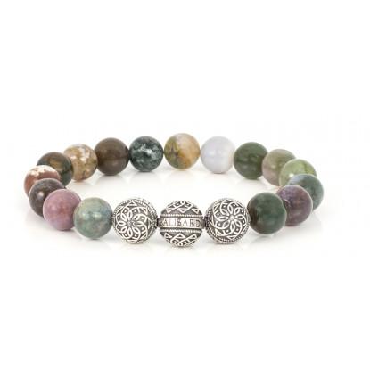 Moss Agate Beaded Bracelet | Triple Sterling Silver Beads | Multicolored Gemstones