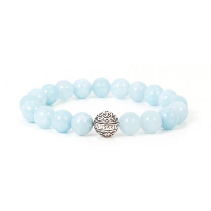 Aquamarine Beaded Bracelet | Sterling Silver Bead | Light Blue Gemstones