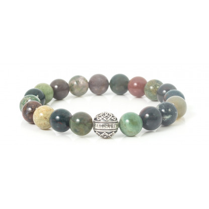Moss Agate Beaded Bracelet | Sterling Silver Bead | Multicolored Gemstones