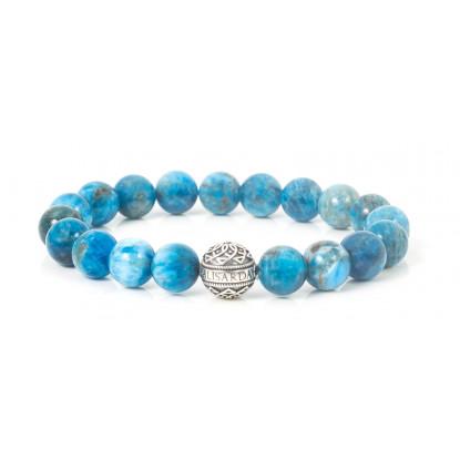 Apatite Beaded Bracelet | Sterling Silver Bead | Turquoise Gemstones