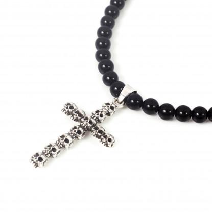 Skull Obsession Black Onyx Cross