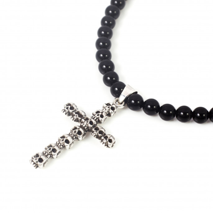 Onyx Necklace with Sterling Silver Cross