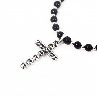 Skull Obsession Black Ony & Silver Cross