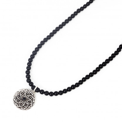 Men's Black Onyx Beaded Necklace | Sterling Silver Pendant