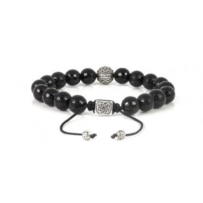 Facetated Black Onyx Beaded Bracelet | Sterling Silver Bead | Black Gemstones on Black Cord