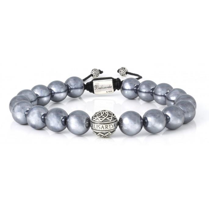 Terahertz Beaded Bracelet   Sterling Silver Bead   Irony Gemstones on Black  Cord