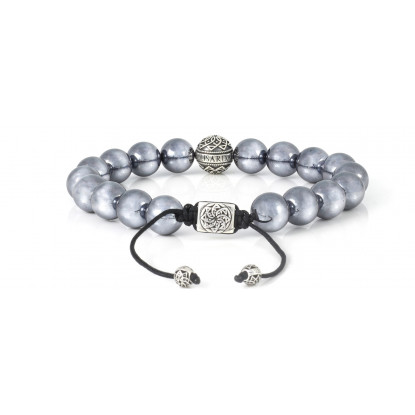 Terahertz Beaded Bracelet | Sterling Silver Bead | Irony Gemstones on Black Cord