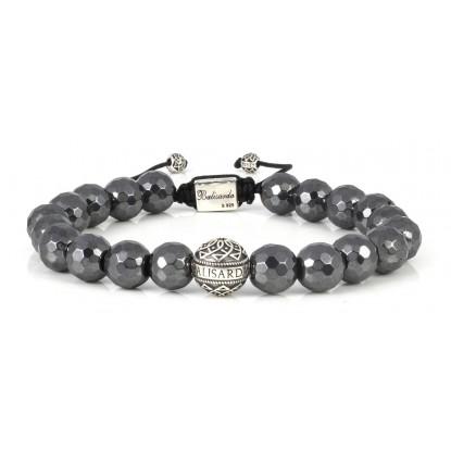 Facetated Hematite Beaded Bracelet | Sterling Silver Bead | Irony Gemstones on Black Cord