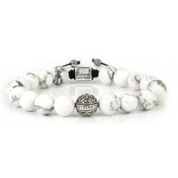 White Howlite Beaded Bracelet | Sterling Silver Bead | White Gemstones on Black Cord