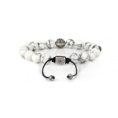 White Howlite Beaded Bracelet | Sterling Silver Bead | White Gemstones on Black Cord