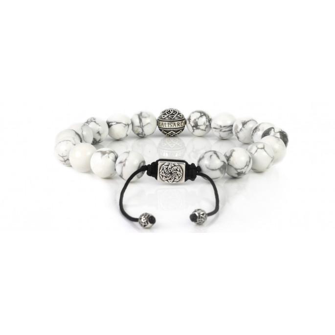 White Howlite Bracelet 10mm Howlite Bracelet Mens Beaded Bracelet Howlite and Sterling Silver White Gemstone Bracelet for Women