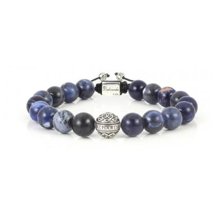 Sodalite Beaded Bracelet | Sterling Silver Bead | Dark Blue Gemstones on black cord