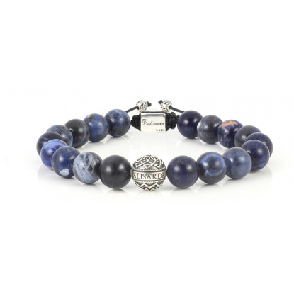 Sodalite Beaded Bracelet | Sterling Silver Bead | Dark Blue Gemstones on black cord