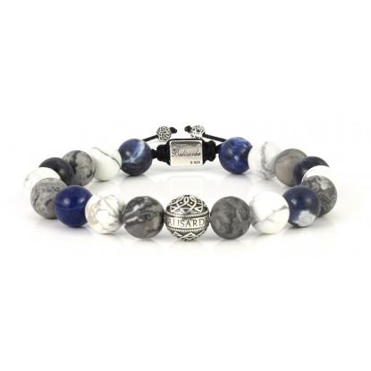 Mixed Sodalite, White Howlite, Leopard Skin Jasper Beaded Bracelet | Sterling Silver Bead | Multicolored Gemstones on Black Cord