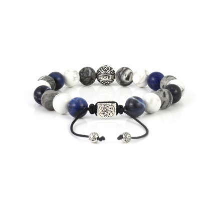 Mixed Sodalite, White Howlite, Leopard Skin Jasper Beaded Bracelet | Sterling Silver Bead | Multicolored Gemstones on Black Cord