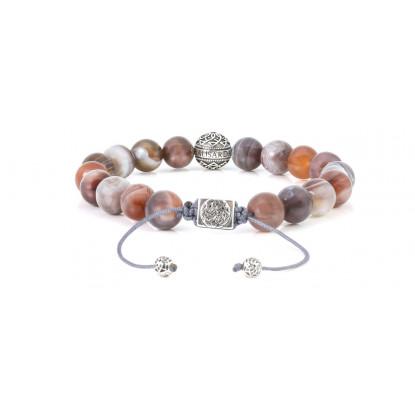 Botswana Agate Beaded Bracelet | Sterling Silver Bead | Multicolored Gemstones on Black Cord