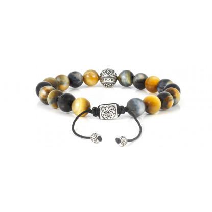 Hawk's Eye Beaded Bracelet | Sterling Silver Bead | Multicolored Gemstones on Black Cord