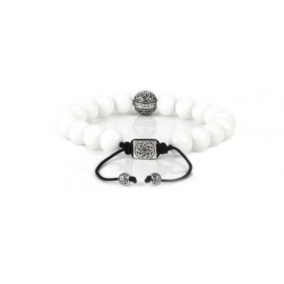 White Quartz Beaded Bracelet | Sterling Silver Bead | White Gemstones on Black Cord