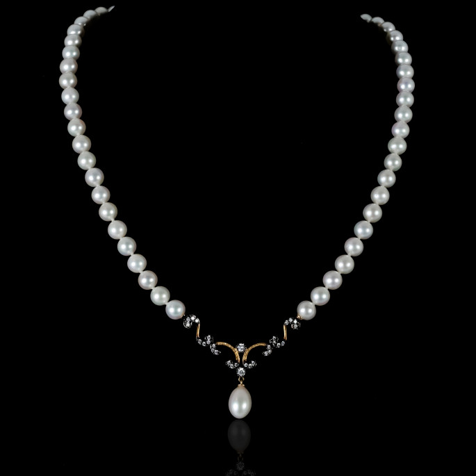 Nuit Noire Necklace | Fresh Water Pearl | 18K Gold