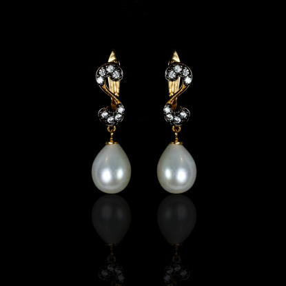 Nuit Noire Earrings | Fresh Water Pearl | 18K Rose Gold
