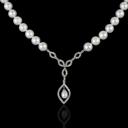 Rafinné Necklace | Fresh Water Pearl | 18K White Gold