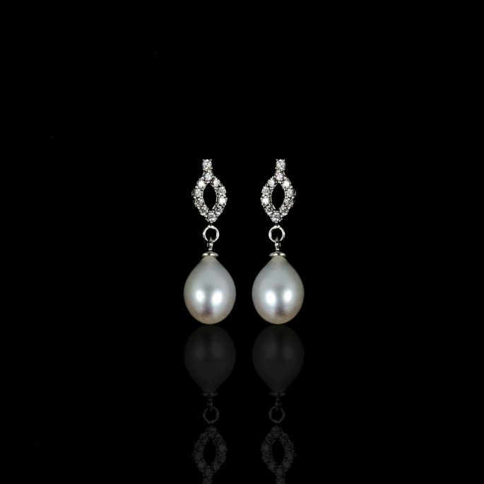 Rafinné Earrings | Fresh Water Pearl | 18K White Gold