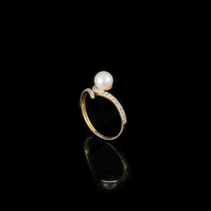 Feuille Ring | Fresh Water Pearl | 14K Gold