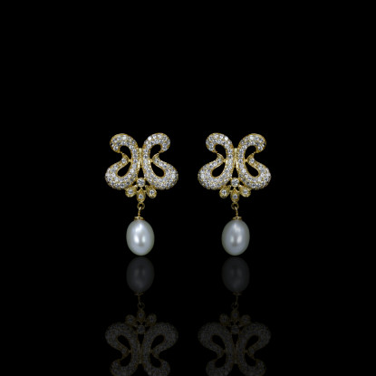 Papillon Earrings | Fresh Water Pearls | 18K Gold