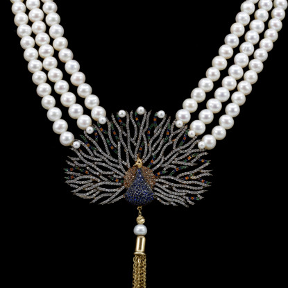 Paon Necklace | Fresh Water Pearls | 14K Gold