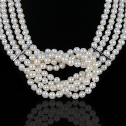 Tissage Necklace | Fresh Water Pearls | Silver 925