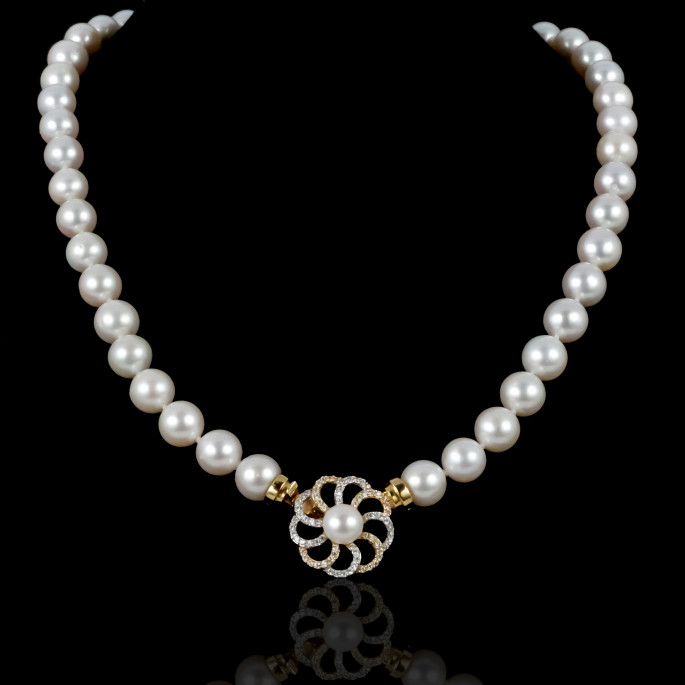 Marguerite Necklace | Fresh Water Pearls | 14K Gold