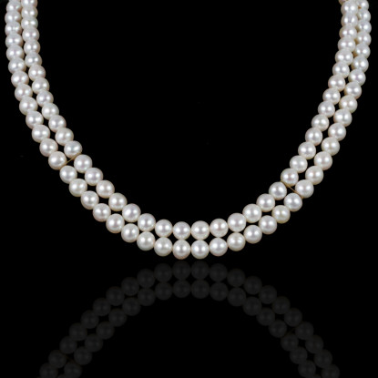 Double Signature   Fresh Water Pearls   14K Gold