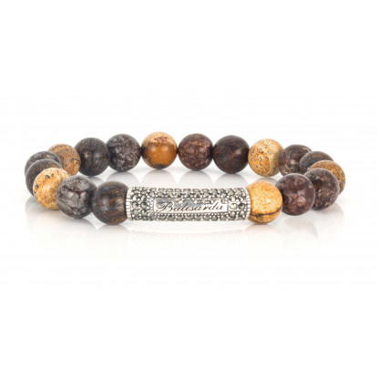 Mixed Bronzite, Snowflake, Picture Jasper beaded bracelet | Sterling Silver jewelry | Multicolored Gemstones
