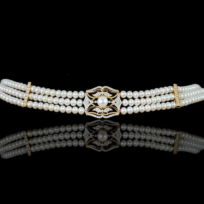 L'écharpe Choker | Fresh Water Pearls | 14K Gold