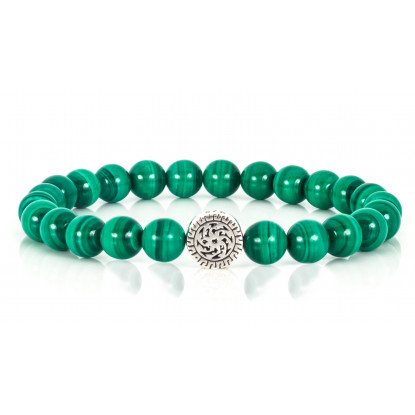 Festive Malachite Beaded Bracelet | Sterling Silver Jewelry | Green Gemstones