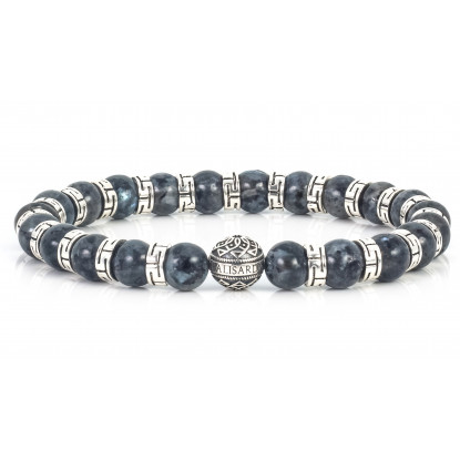 Sparkling Blue Labradorite Beaded Bracelet | Sterling Silver Jewelry | Mixed Grey-Dark Blue gemstones