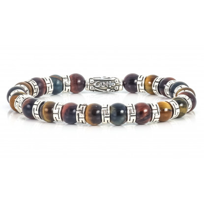 Sparkling Mixed Tiger Eye Beaded Bracelet | Sterling Silver Jewelry | Multicolored Gemstones
