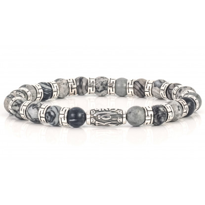 Sparkling Grey Jasper Beaded Bracelet | Sterling Silver Jewelry | Light Grey Gemstones