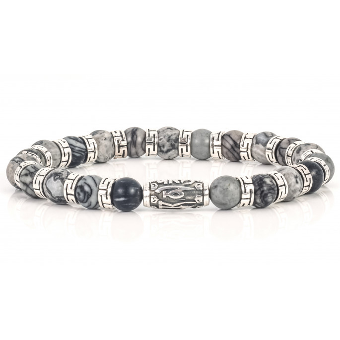 Sparkling Grey Tiger Eye Beaded Bracelet | Sterling Silver Jewelry | Light Grey Gemstones