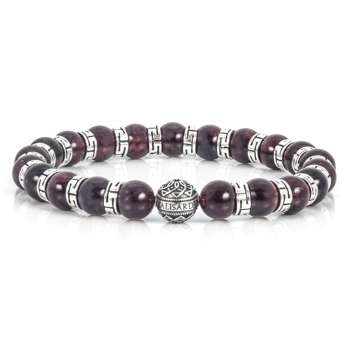Sparkling Garnet Beaded Bracelet   Sterling Silver Jewelry   Claret Gemstones