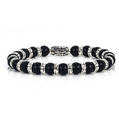 Sparkling Matte Black Onyx Beaded Bracelets | Sterling Silver Jewelry | Black Gemstones