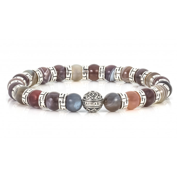 Sparkling Botswana Agate Beaded Bracelet | Sterling Silver Jewelry | Multicolored Gemstones