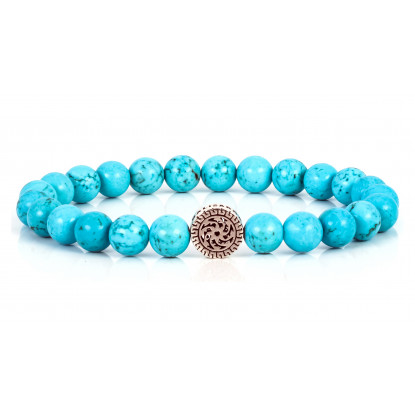 Festive Turquoise Beaded Bracelet | Sterling Silver Jewelry | Turquoise Gemstones