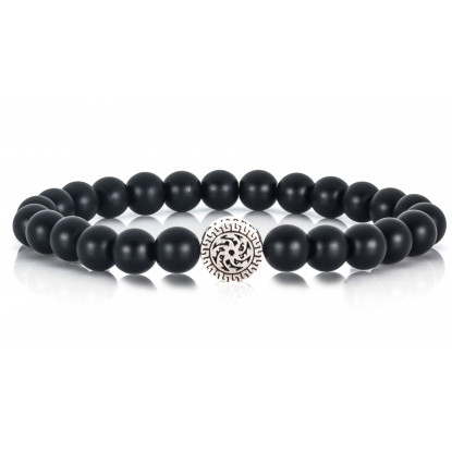 Festive Matte Onix | Beaded Bracelet | Black Gemstones