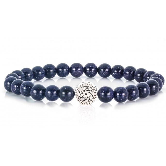 Festive Blue Goldstone | Beaded Bracelet | Sparkling Dark Blue
