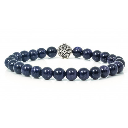Festive Blue Goldstone | Beaded Bracelet | Sparkling Dark Blue