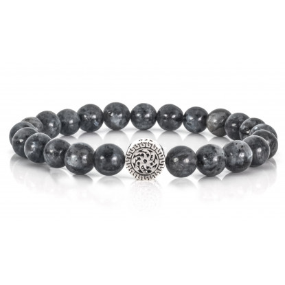 Festive Black Labradorite | Beaded Bracelet |Sparkling Grey Gemstones