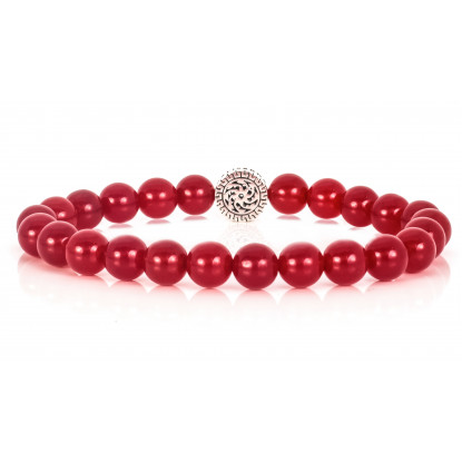 Festive Rubellite Beaded Bracelet |Sterling Silver Jewelry | Red Gemstones